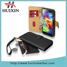 Genuine natural leather folio wallet stand case for Samsung galaxy S5