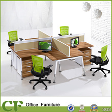 Commercial Modern L Type 4 Person Office Desk with Fabric Partition