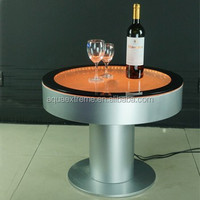 Beautiful battery driver Round Bar Table ,Fantastic LED light and water Bubble moving table