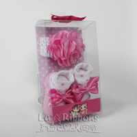 Cute pink flower headband and socks gift set for 0-12 Months Baby