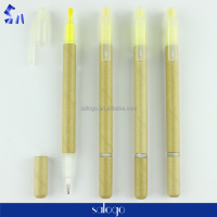 Promotional two heads paper barrel highlighter and plastic ball pen
