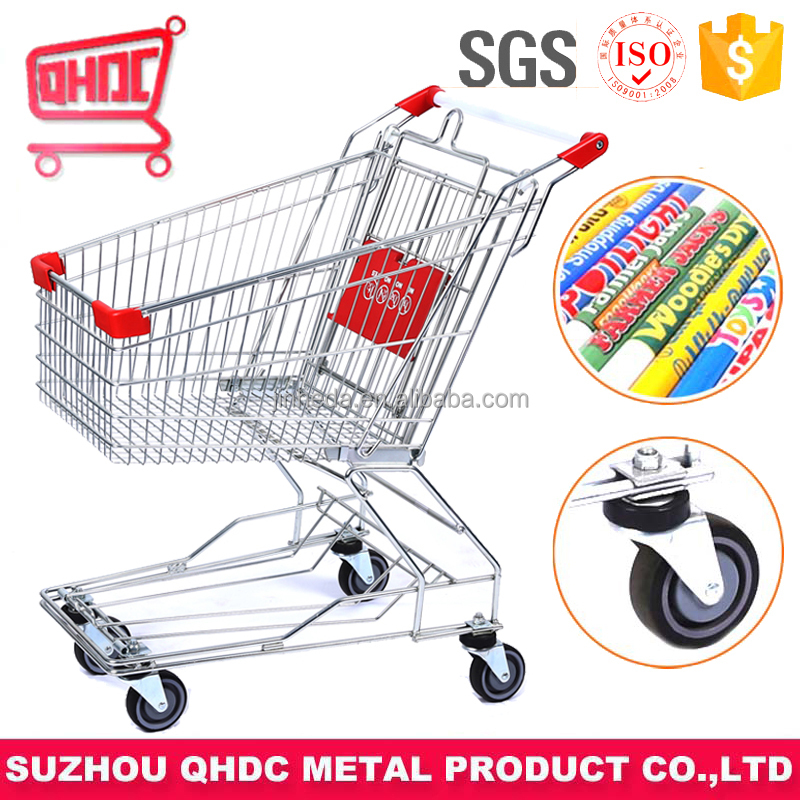 60 liter wheels shopping trolley supermarket cart Zinc Plated Surface Handling