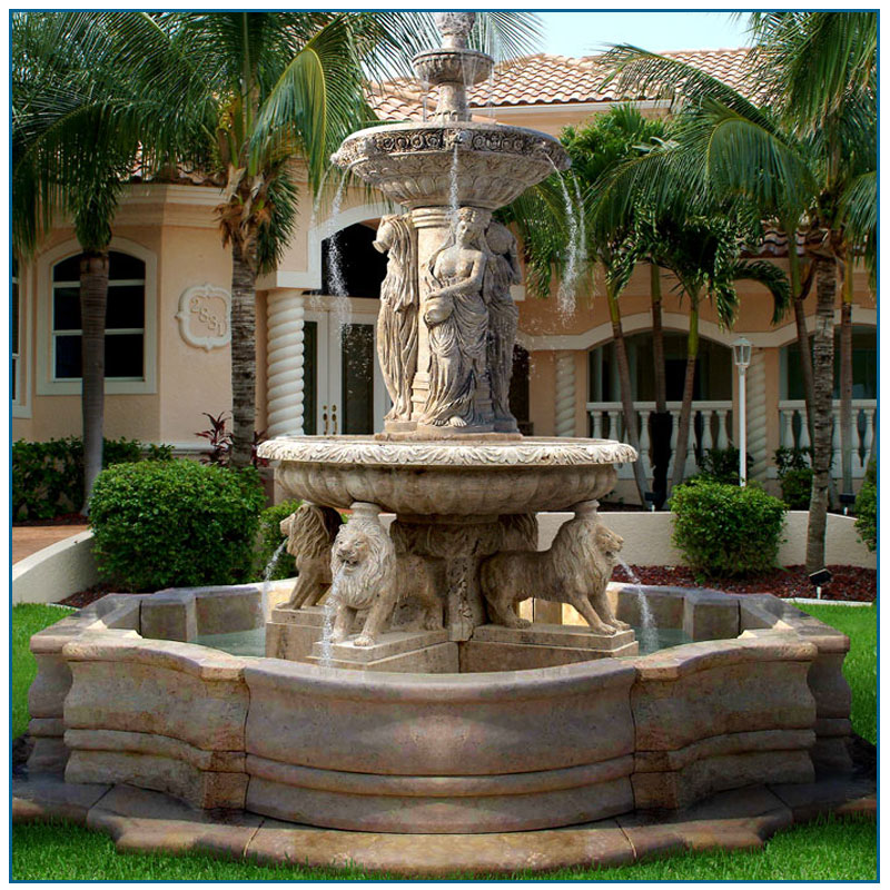 City square outdoor antique polished marble outdoor water fountain