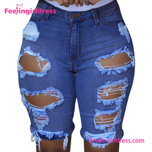 Plus Size Women Hole Fashion Sexy Blue 2016 Jeans Half Pants
