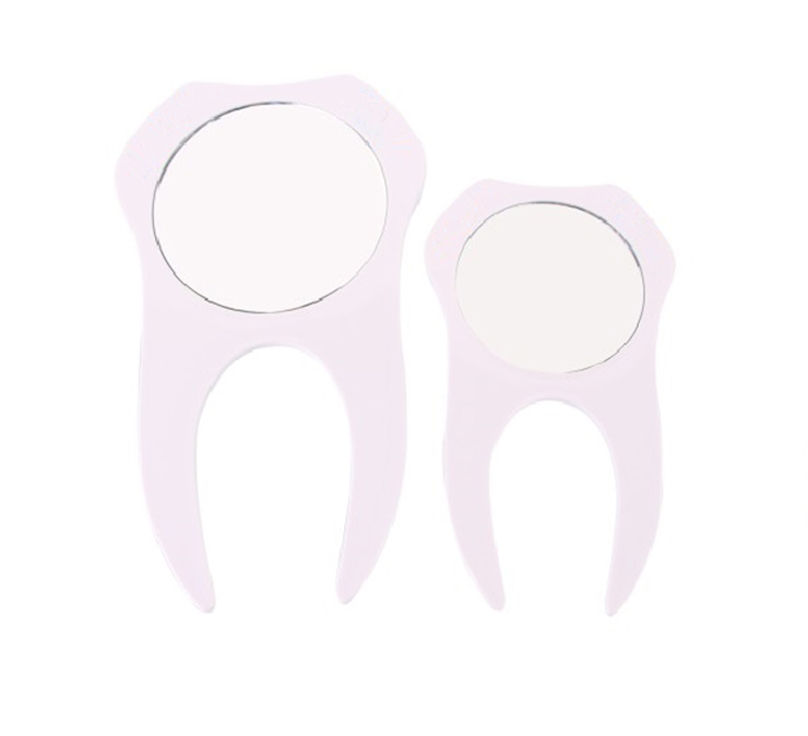 tooth shape creative design pocket mirrors cosmetic promotion gift small pocket plastic mirror