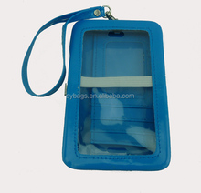 mirror leather phone card wallet with clear pvc window / morden lady fashion plain blue wallet case / phone clutch bag for lady
