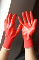 NMSAFETY red polyester liner half coated red nitrile hand gloves work gloves oil resistant