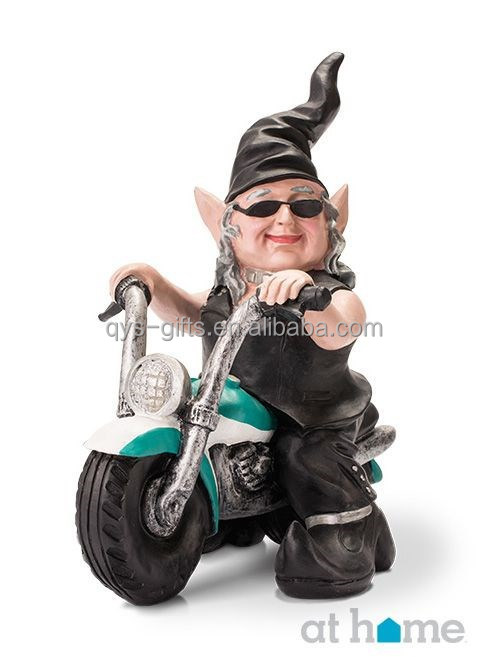 Resin garden bike gnome figurine for your outdoor decoration