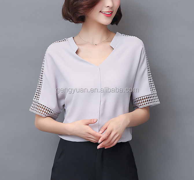 Hot Designs Casual Top Ladies Office Wear For Fat Female