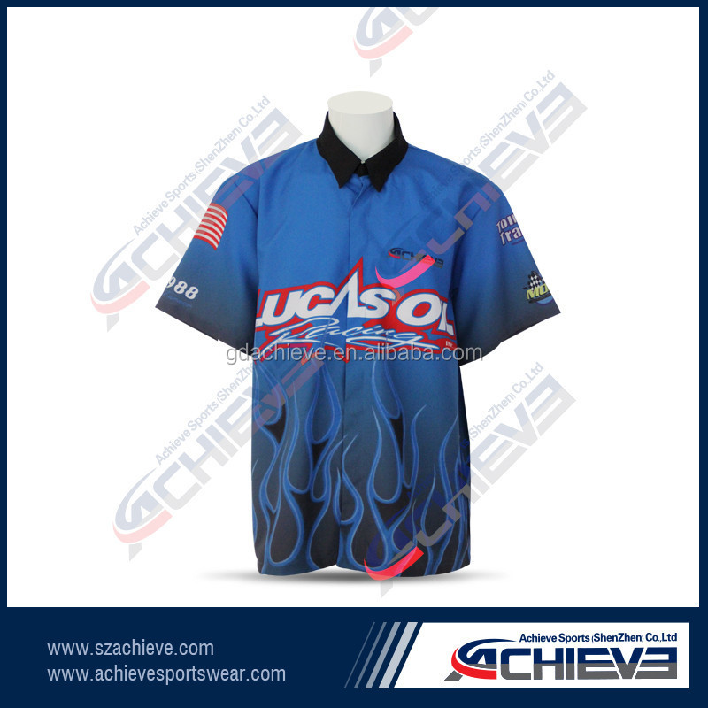 100% polyester custom motorcycle racing team pit crew shirt
