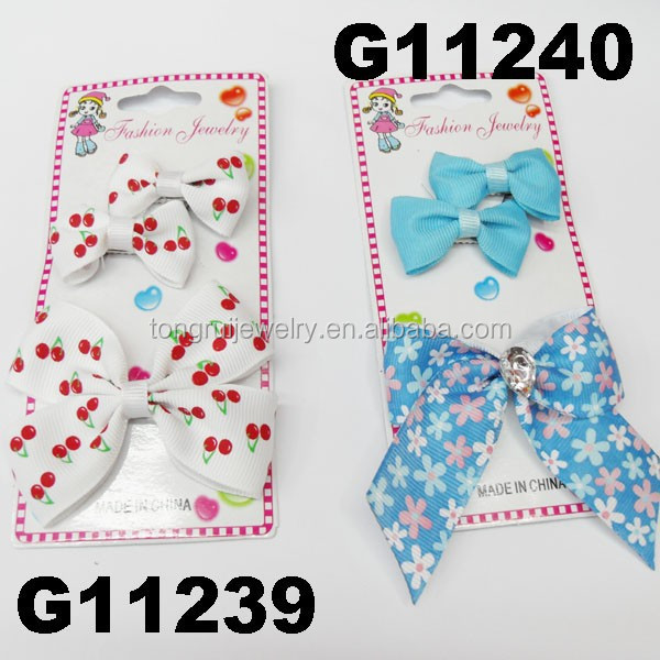 wholesale school girls kids printed grosgrain ribbon hair bow for girls boutique