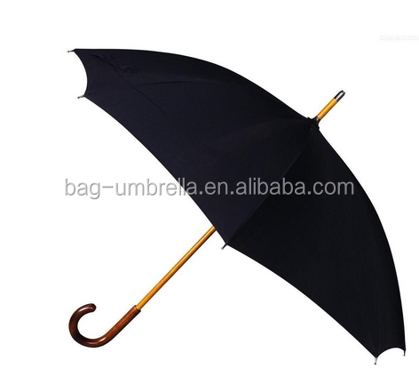 Black stick umbrella with wood shaft and handle Black umbrella Stick umbrella