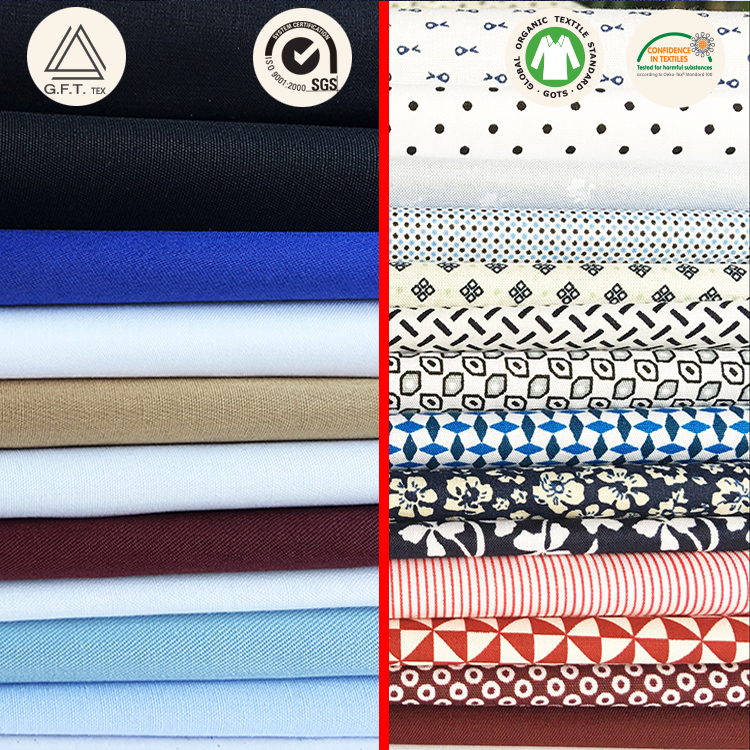 100% combed organic cotton woven plain twill satin dyed fabric for casual shirt GOTS (printed pattern as customer needed)