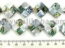 Paua Shell + MOP Mosaic Checker Square Shape Beads