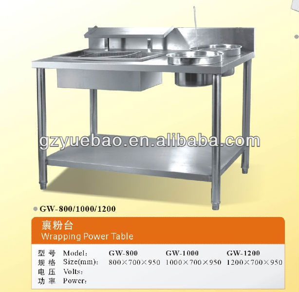 wrapping power table with stainless steel body