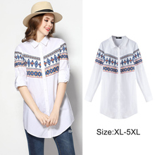 SN3226 2017 Fat Women Fashion Printed Long Sleeve 100% Cotton White Shirt