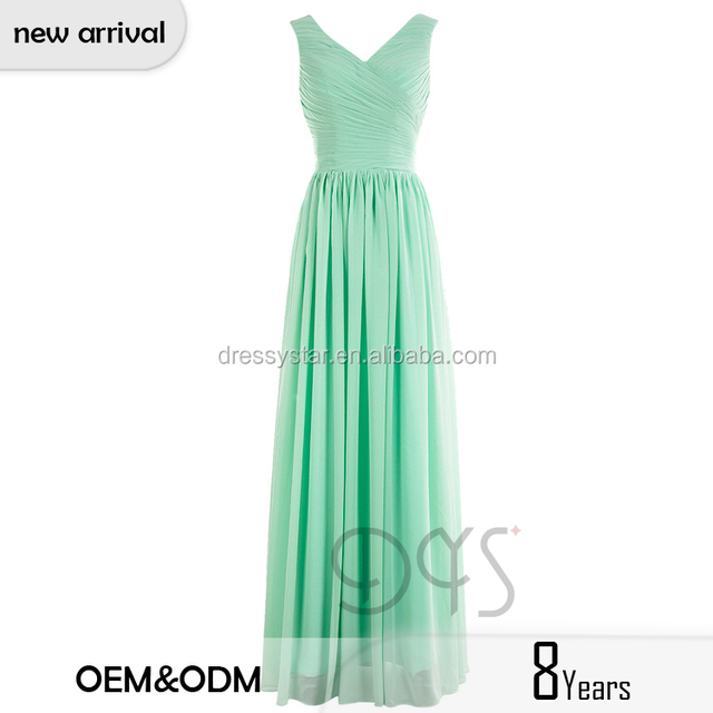 2017 Spring collection full-length a-line ruched chiffon elegant mint bridesmaid dress