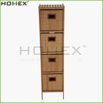Bamboo Bathroom Cabinet w Sliding Storage Bins Homex-BSCI Factory