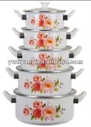 enamel pot set 5pcs with bakelite handle