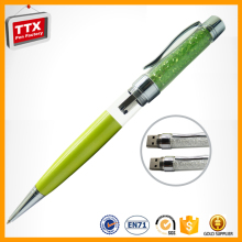 Wholesale branded pen for promotion,office stationary crystal pen container