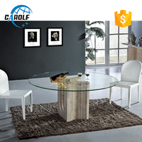 Low price advanced glass top marble base dining table
