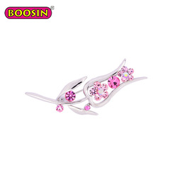 Alloy rose crystal rhinestone flower brooch pin for women clothes
