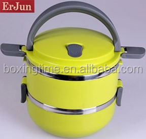 2 Layers stainless steel yellow lunch box plastic industrial cotainers portable storage box