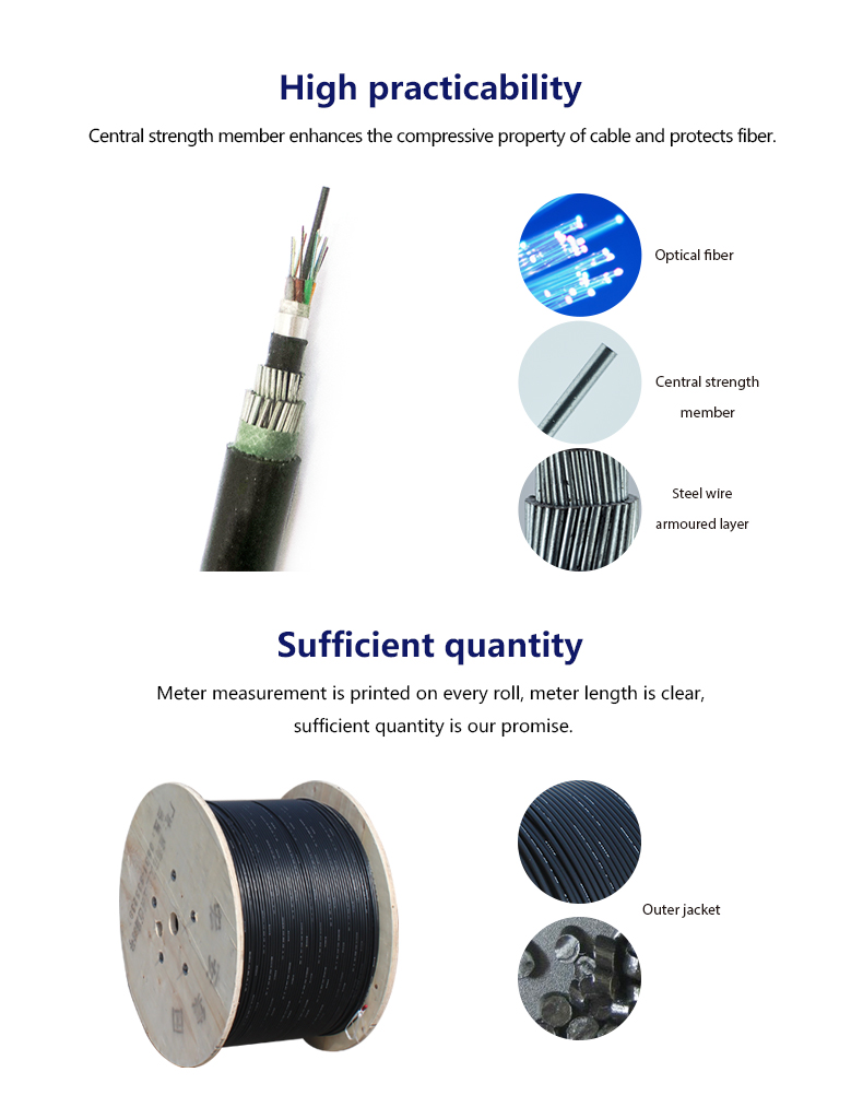 Steel Wire Armored Offshore GYTA333 Fiber Optic Cable 4 12 24 48 72 144 288 core G652 fiber