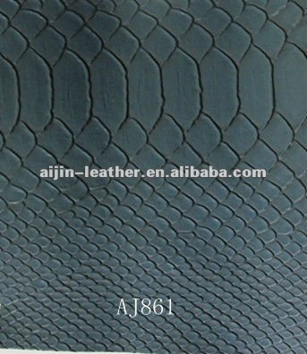 Snake skin emboss synthetic PVC leather for decorative