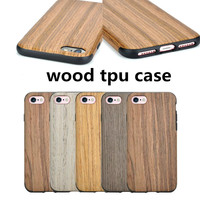 sharewin wood tpu grain silicone soft phone case cover for iphone 7 tpu wood case