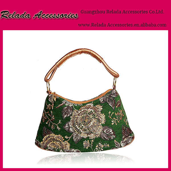 Women's Vintage india handmade embroidered and beaded green handbags
