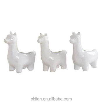 White ceramic animal alpaca llama figurines statues