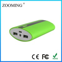 Classical design powerbank shiny LED torch 5V2A output USB external backup battery charger case for iphone 5
