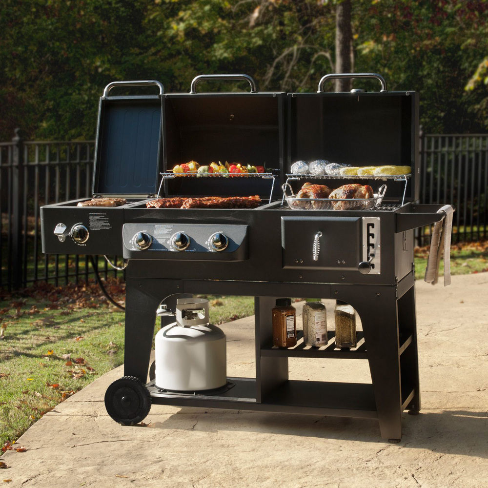Gas Charcoal Combo Combination Hybird Bbq Barbecue Grills