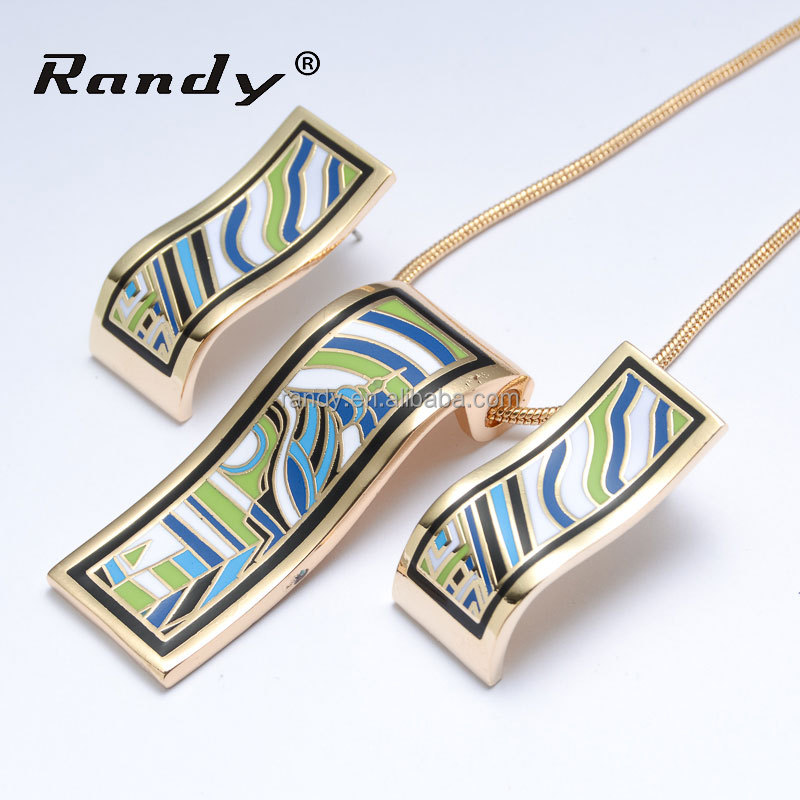 Charm Wholesale Traditional Enamel Necklace Earring Jewelry Set
