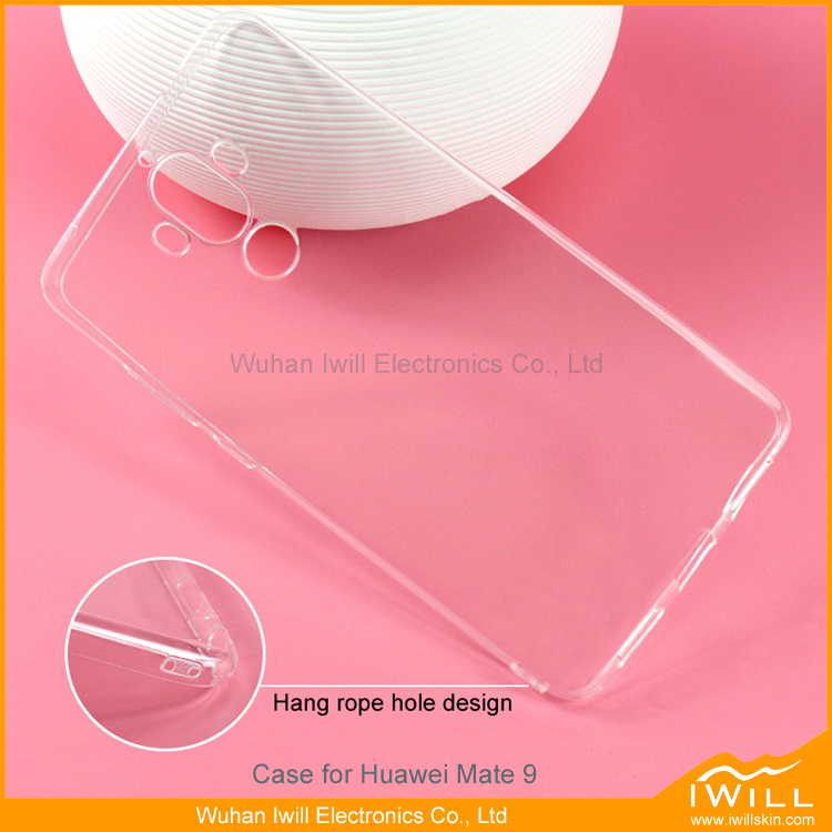 For huawei mate 9 phone case , super clear thin gel case for huawei mate 9 shell hang rope hole design