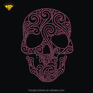 HONGKUN Custom Halloween skeleton theme hot fix rhinestone transfer designs iron on patches Applied T-Shirt