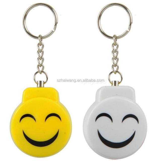 Smile Face Alarm Personal Electronic Panic Alarm Anti-Rape Anti-Attack Alarm Sensor Security Siren Keychain Yellow Wholesale