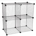 4 shelf wire shelving unite in black color assembled by wire panel(FH-ALW0016)