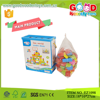 hot sale 68pcs colorful printing children game small wooden blocks - Printing With Children