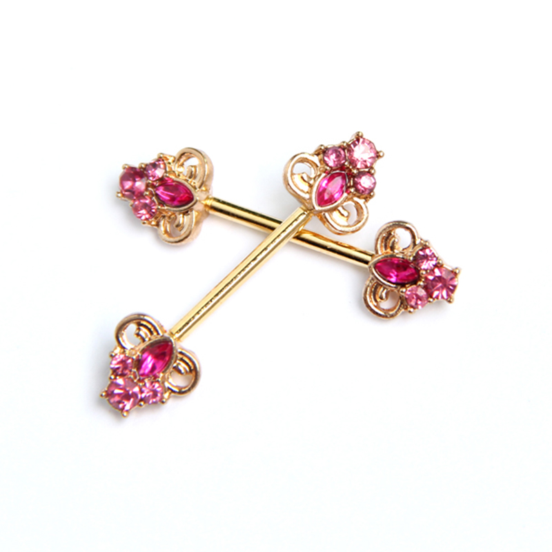 Gold plated pink gem 14 gauge sexy nipple piercing jewelry