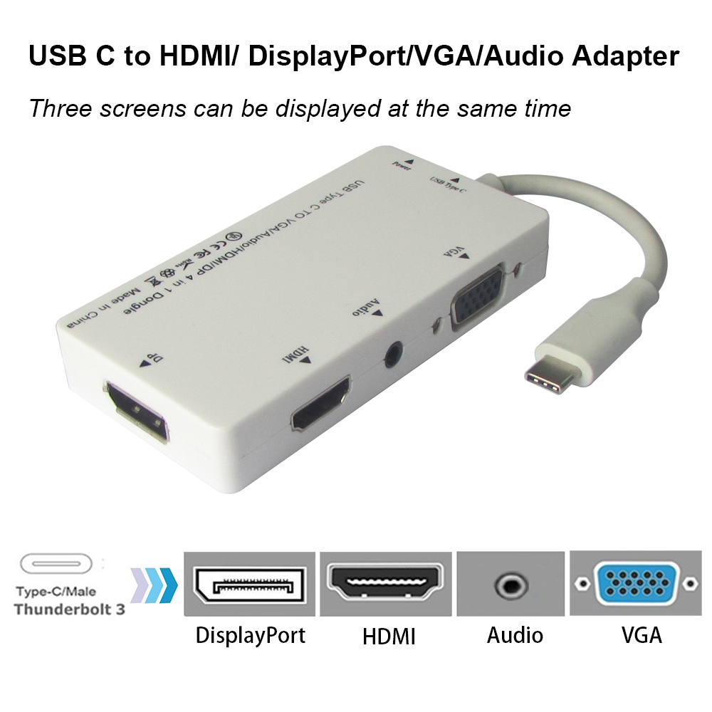 USB3.1 Type-C 4 in 1 HUB USB C to HDMI/ DisplayPort/VGA/Audio Adapter