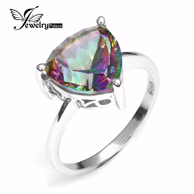 Trillion Natural Gem stone Jewelry Rainbow Fire Mystic Topaz Ring For Women Concave Cut Pure Solid 925 Sterling Silver Fashion