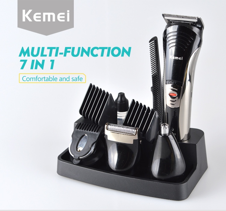Kemei KM590A New Hot Sale 7 in 1 Rechargeable Electric Hair Clipper, Hair Styling Tools for Men