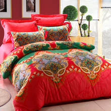 New elegant european style red wholesale 4 pcs bedding set