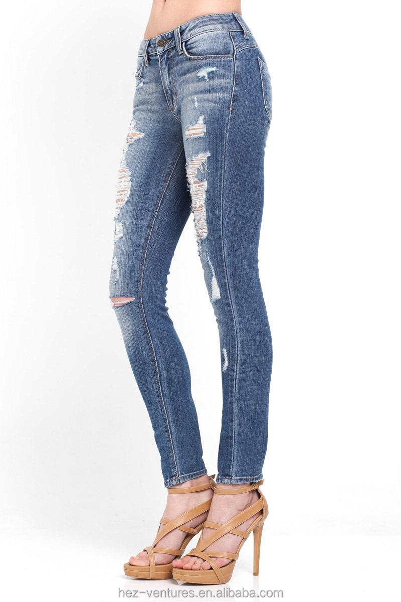 hez ladieswomens super skinny destoyed ripped jeans