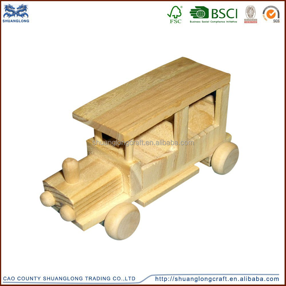 Small unfinished old wooden car model for children ,kids toy