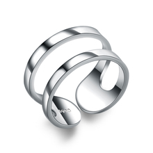 Stackable Fashion Ring Geometric 925 Sterling <strong>Silver</strong> Open Ended Hollow Double Band Adjustable Ring for Women and Men