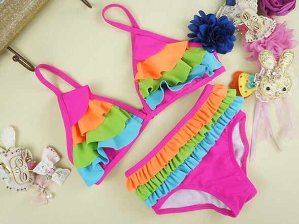 2016 2X Kid Girl Beachwear Bikini Chlidren Bowknot Swimwear Children Sling Bikini Swimsuit