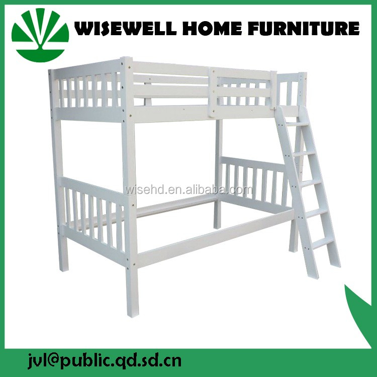 solid wood strong frame bunk bed in white color WJZ-B101